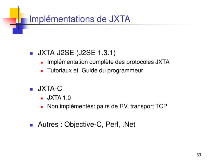 Implémentations de JXTA
