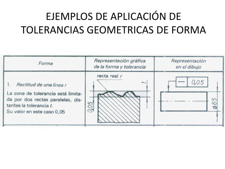 EJEMPLOS DE APLICACIÓN DE TOLERANCIAS GEOMETRICAS DE FORMA