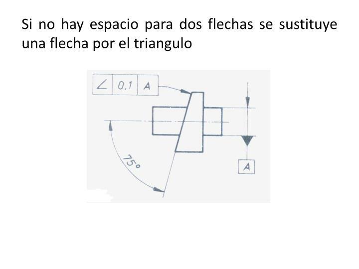 Si no hay espacio para dos flechas se sustituye una flecha por el triangulo