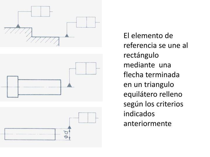 El elemento de referencia se une al rectángulo  mediante  una flecha terminada en un triangulo equilátero relleno según los criterios indicados anteriormente