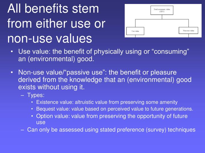 All benefits stem from either use or  non-use values