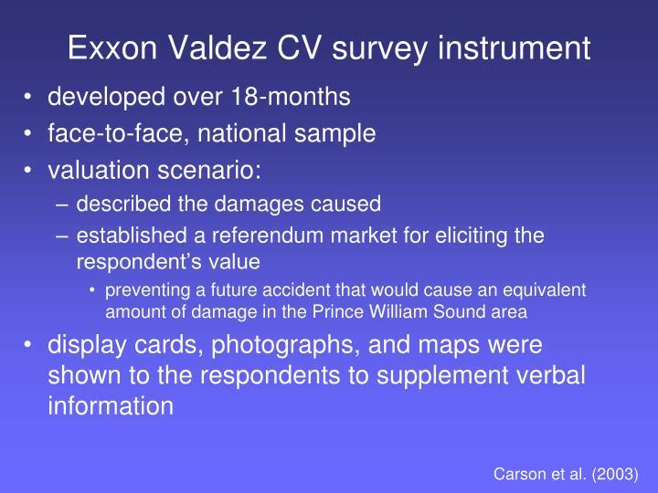Exxon Valdez CV survey instrument