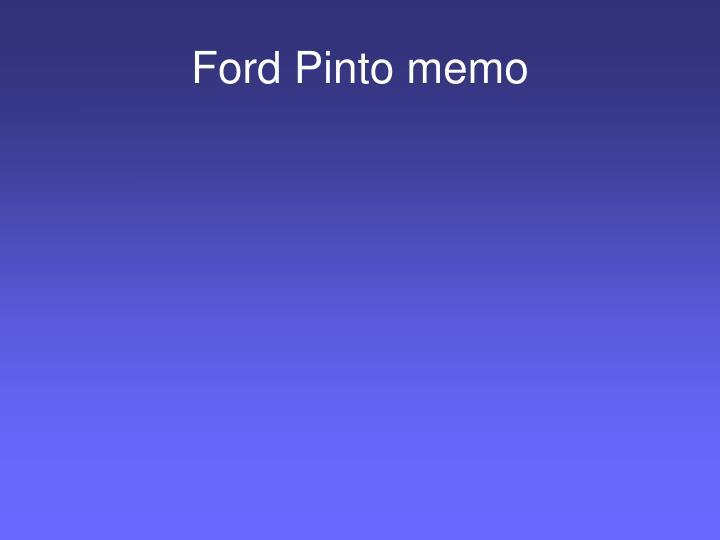 Ford Pinto memo