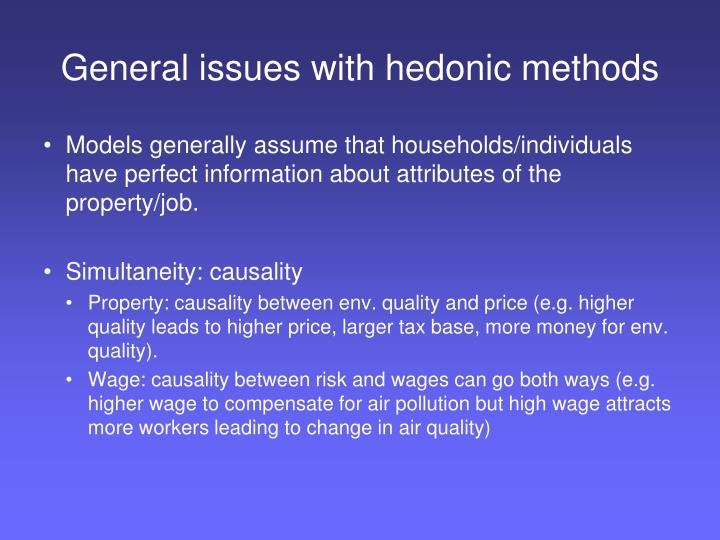 General issues with hedonic methods