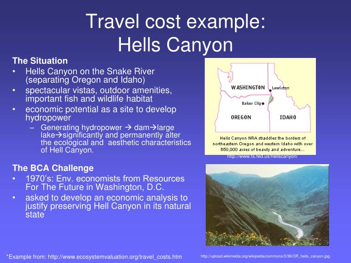 Travel cost example: