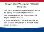 you get early warning of potential problems