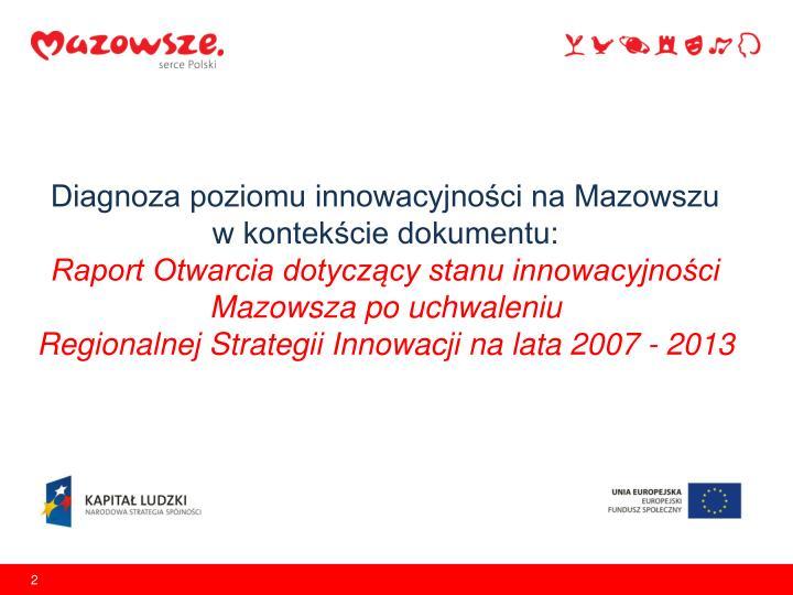 Diagnoza poziomu innowacyjności na Mazowszu