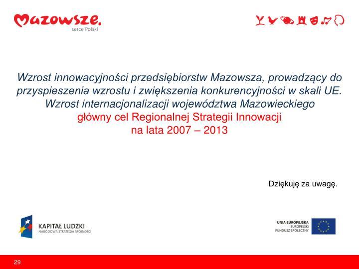 Wzrost innowacyjności przedsiębiorstw Mazowsza, prowadzący do przyspieszenia wzrostu i zwiększenia konkurencyjności w skali UE. Wzrost internacjonalizacji województwa Mazowieckiego