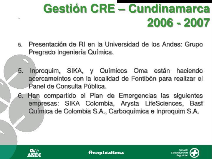 Gestión CRE – Cundinamarca