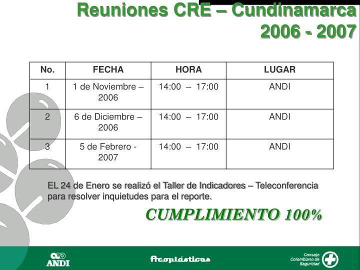 Reuniones CRE – Cundinamarca