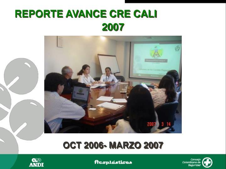 REPORTE AVANCE CRE CALI
