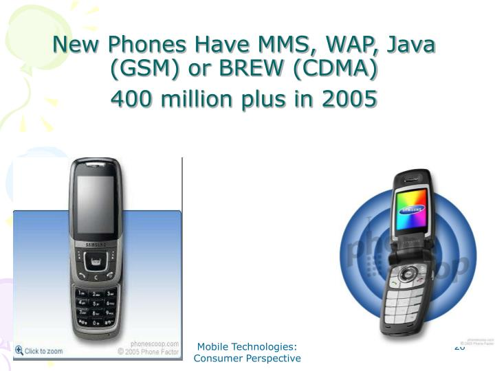 New Phones Have MMS, WAP, Java (GSM) or BREW (CDMA)