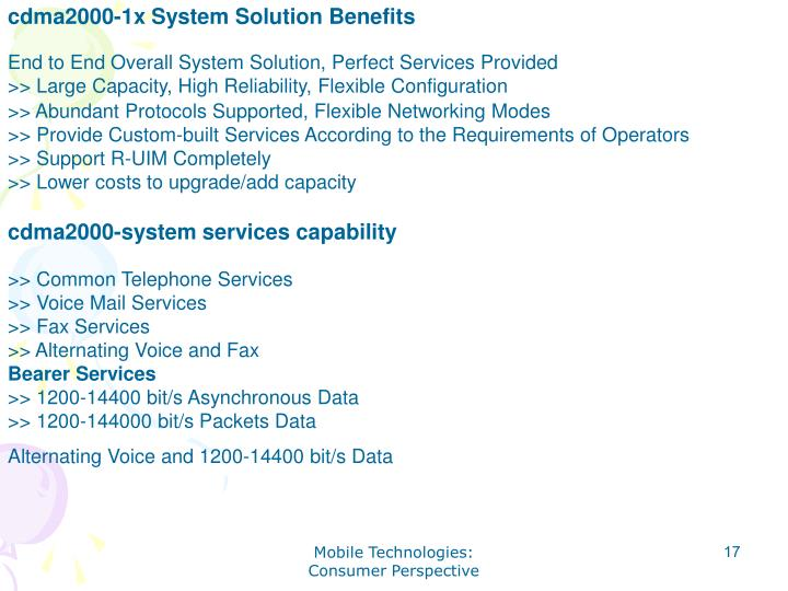 cdma2000-1x System Solution Benefits