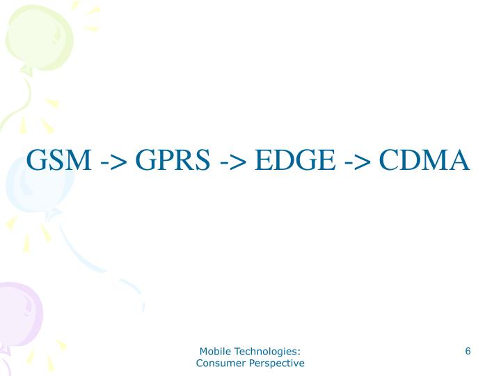 GSM -> GPRS -> EDGE -> CDMA