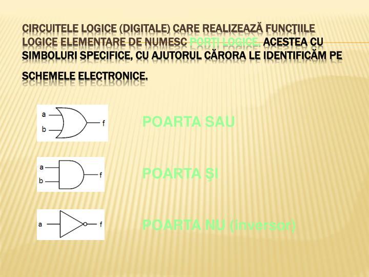 Circuitele logice (digitale) care realizează funcţiile logice elementare de numesc