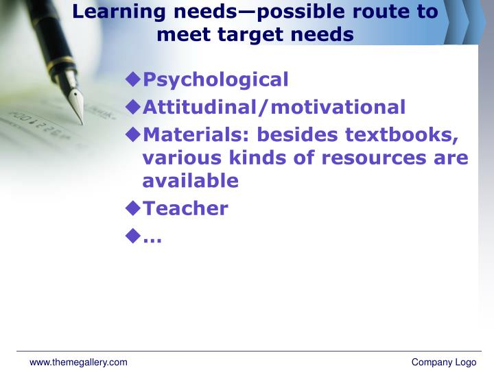 Learning needs—possible route to meet target needs