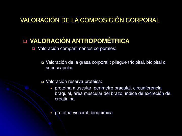 VALORACIÓN DE LA COMPOSICIÓN CORPORAL