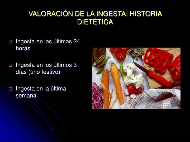VALORACIÓN DE LA INGESTA: HISTORIA DIETÈTICA