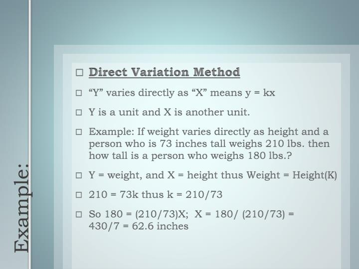 Direct Variation Method