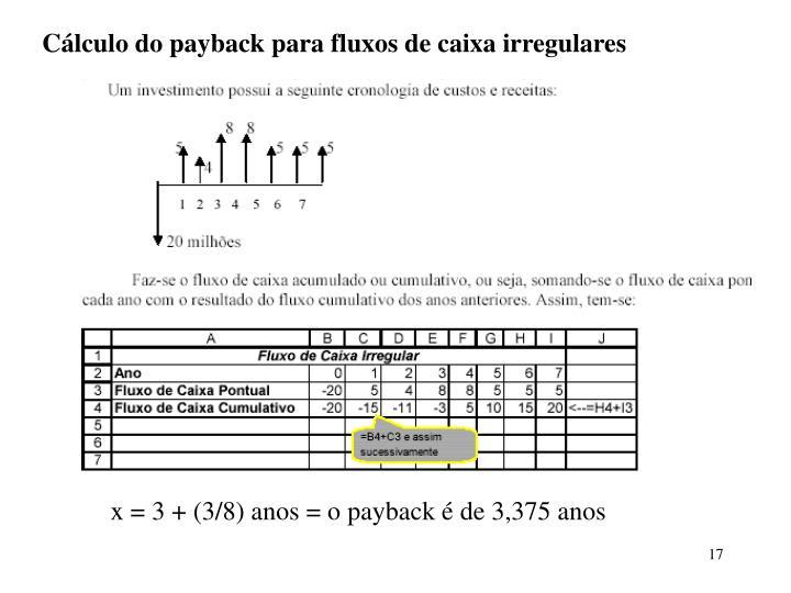 Cálculo do payback para fluxos de caixa irregulares