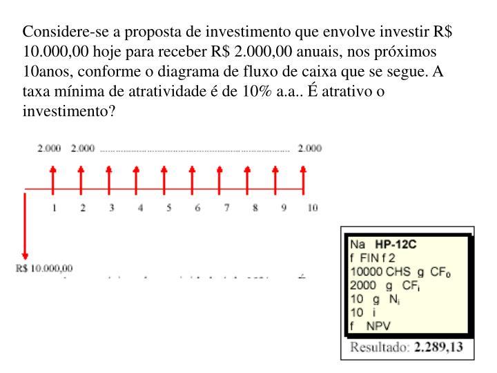 Considere-se a proposta de investimento que envolve investir R$ 10.000,00 hoje para receber R$ 2.000,00 anuais, nos próximos 10anos, conforme o diagrama de fluxo de caixa que se segue. A taxa mínima de atratividade é de 10% a.a.. É atrativo o investimento?