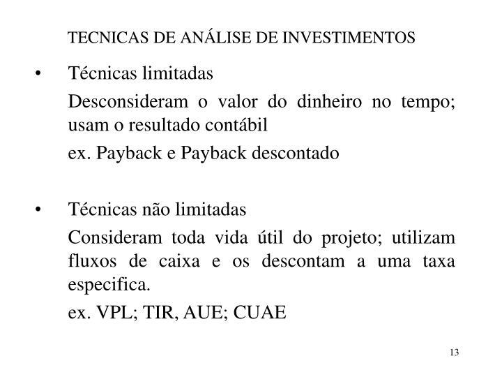 TECNICAS DE ANÁLISE DE INVESTIMENTOS