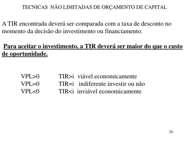 TECNICAS  NÃO LIMITADAS DE ORÇAMENTO DE CAPITAL