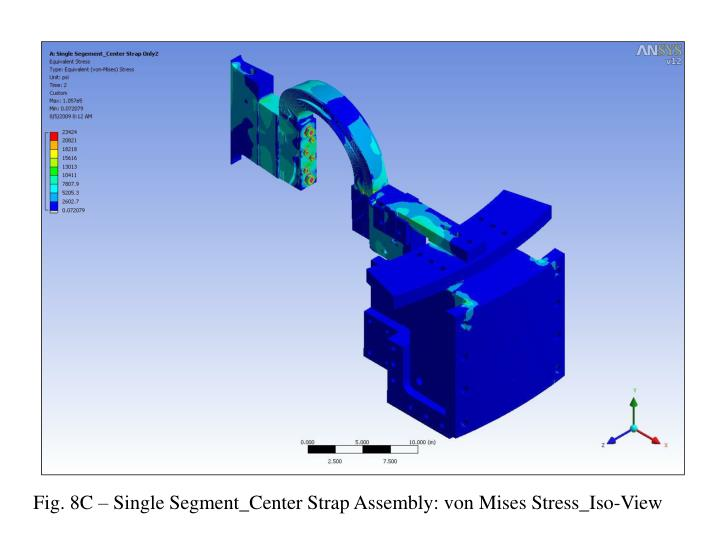 Fig. 8C – Single Segment_Center Strap Assembly: von Mises Stress_Iso-View