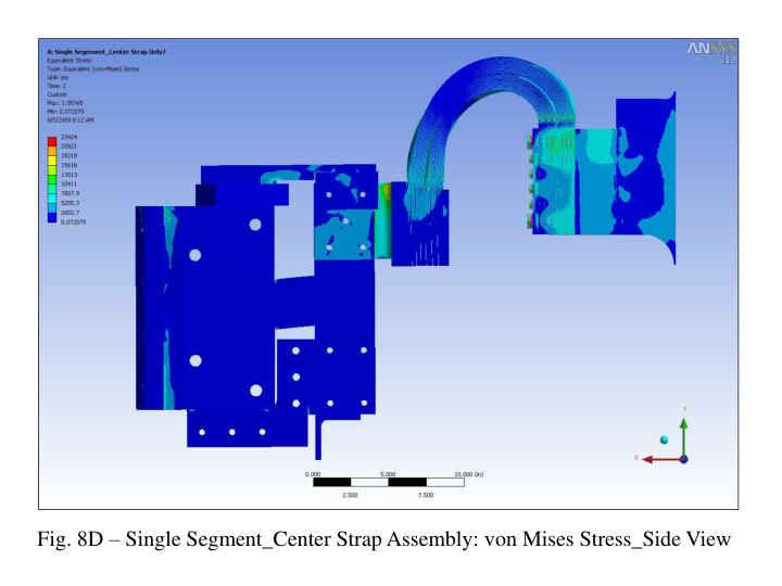 Fig. 8D – Single Segment_Center Strap Assembly: von Mises Stress_Side View
