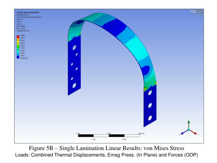 Figure 5B – Single Lamination Linear Results: von Mises Stress