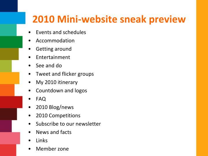 2010 Mini-website sneak preview