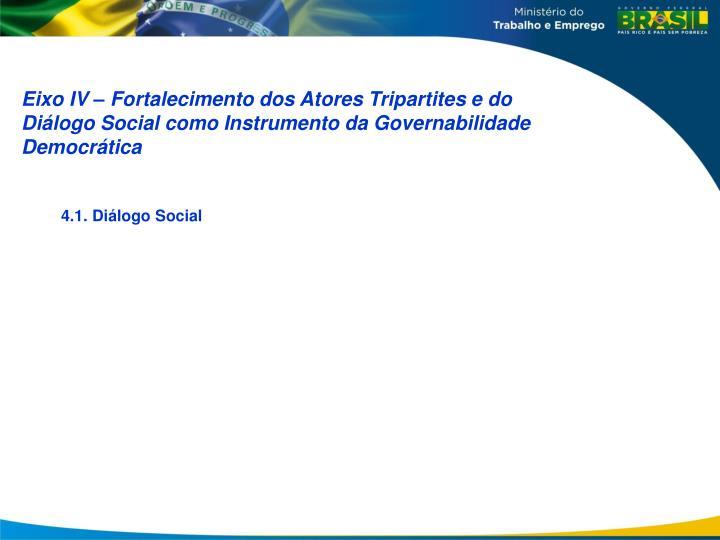 Eixo IV – Fortalecimento dos Atores Tripartites e do Diálogo Social como Instrumento da Governabilidade Democrática