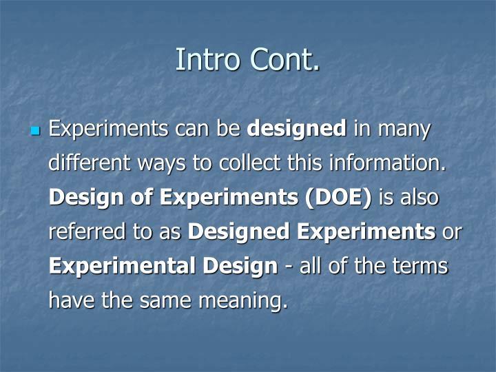 Intro Cont.