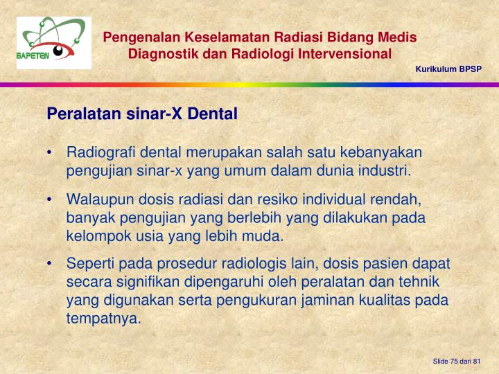 Peralatan sinar-X Dental