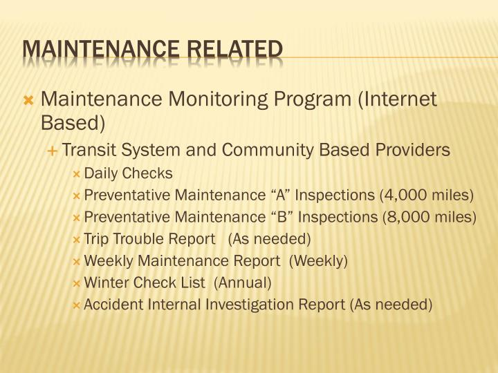 Maintenance Monitoring Program (Internet Based)