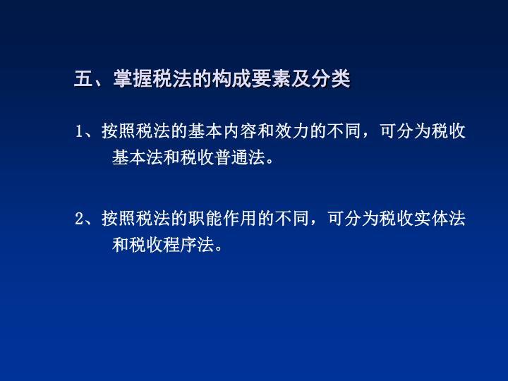 五、掌握税法的构成要素及分类