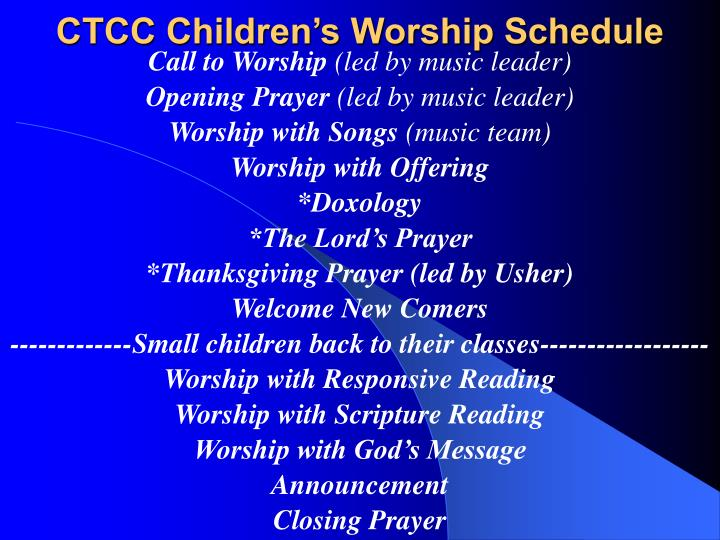 Ctcc children s worship schedule