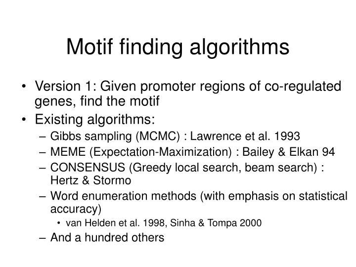 Motif finding algorithms