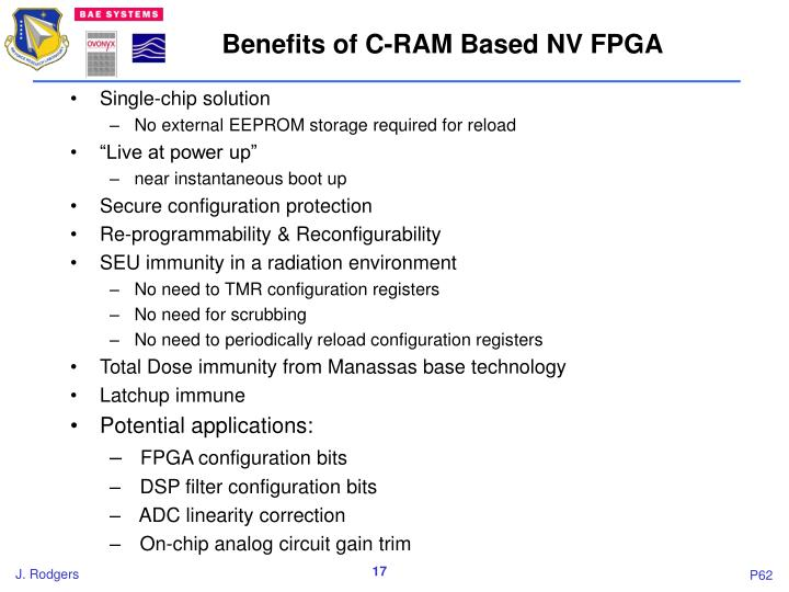 Benefits of C-RAM Based NV FPGA