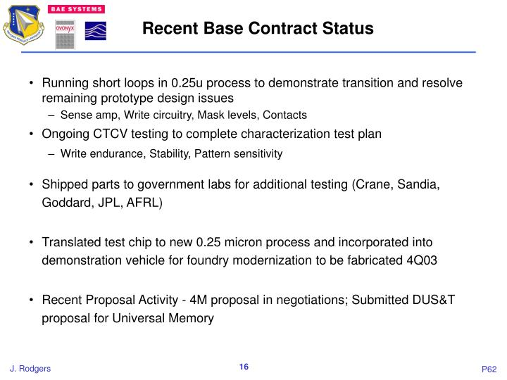 Recent Base Contract Status
