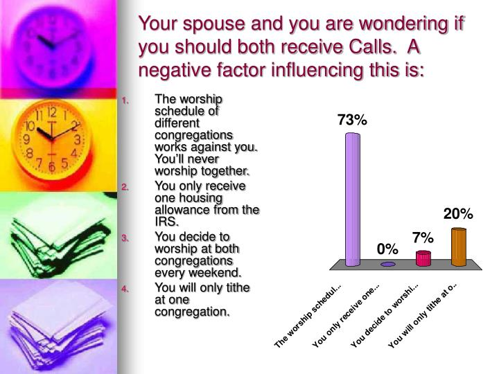 Your spouse and you are wondering if you should both receive Calls.  A negative factor influencing this is: