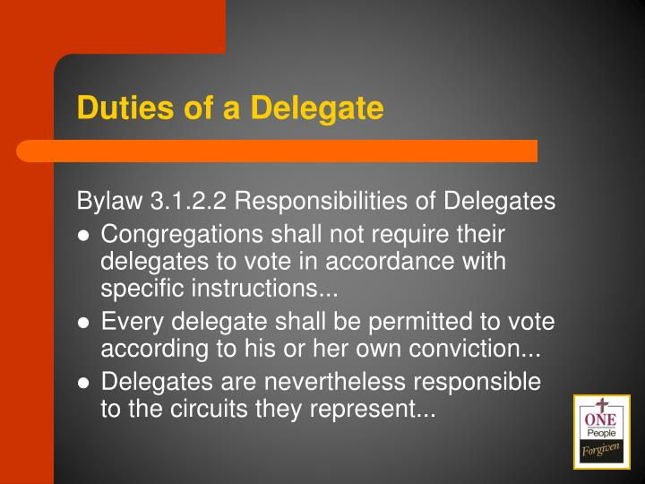 Duties of a Delegate