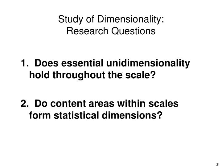 Study of Dimensionality: