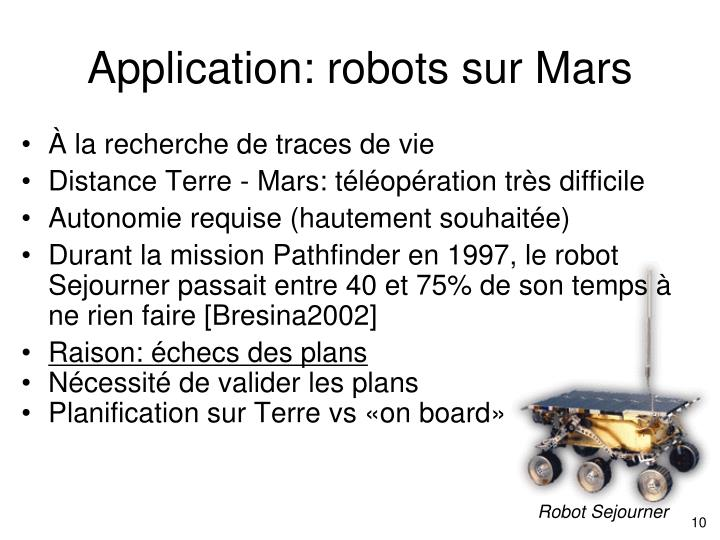 Application: robots sur Mars