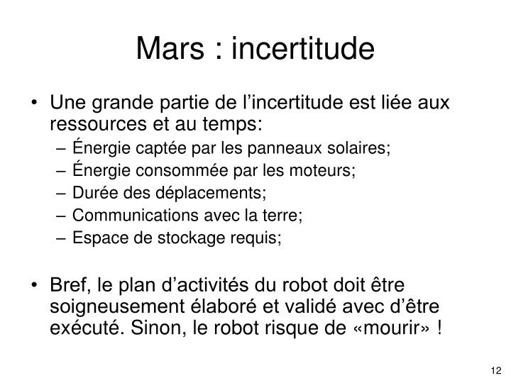 Mars : incertitude