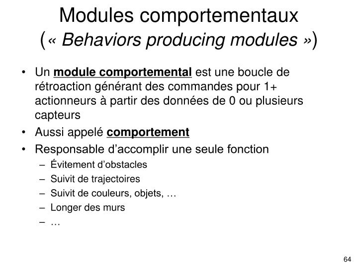 Modules comportementaux (