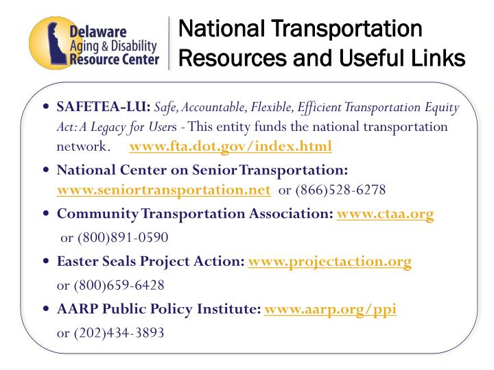 National Transportation  Resources and Useful Links