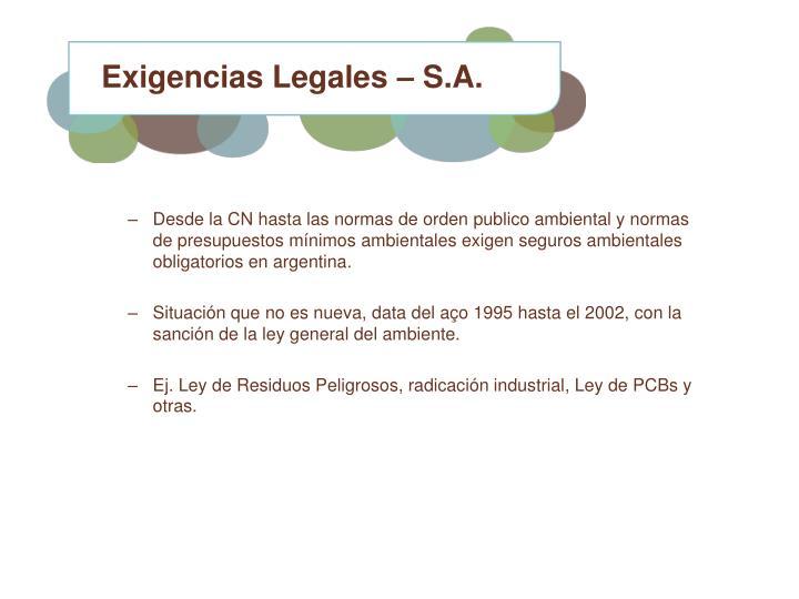 Exigencias Legales – S.A.