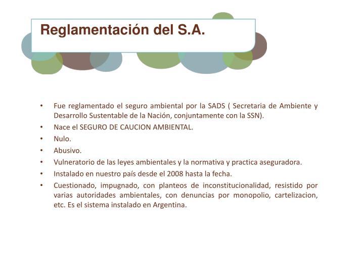 Reglamentación del S.A.