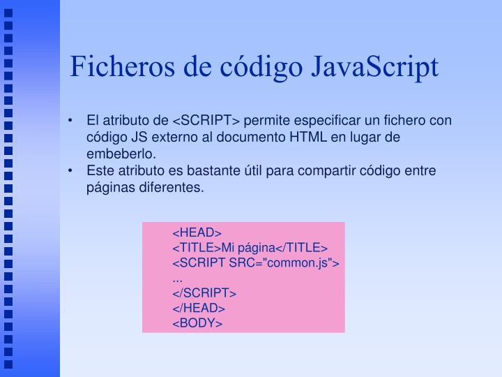 Ficheros de código JavaScript